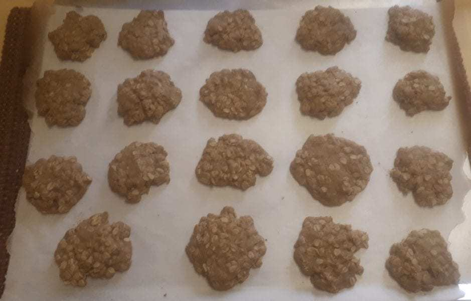 Cookie baked and cooling on the cookie sheet.