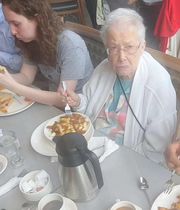 mom and her poutine