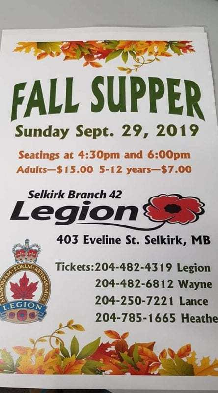 Manitoba Fall suppers Legion poster