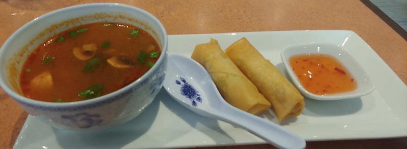 soup and spring rolls
